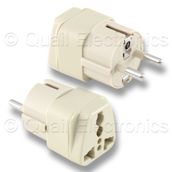 EUROPEAN SCHUKO to UNIVERSAL RECEPTACLE Adapter - BEIGE