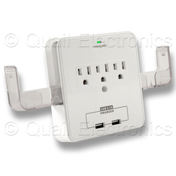 NEMA 5-15P to 5-15R x 3 + USB CHARGER x 2 Adapter - WHITE