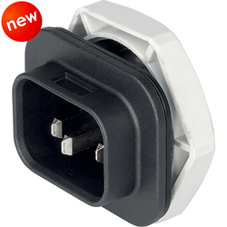 WATERPROOF IEC S16 INLET, BLACK, SCREW-ON, 16 A, 250 V